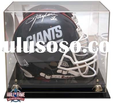 Football Helmet Display Case with Mirrored Back and Black Acrylic Base