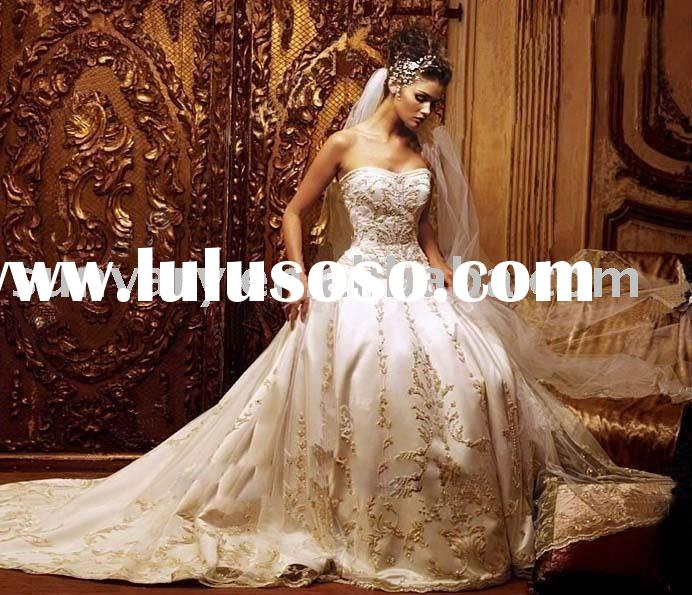 Free Shipping Ivory Strapless Embroidered Wedding Dresses Bridal Dresses Ball Gown With Court Train