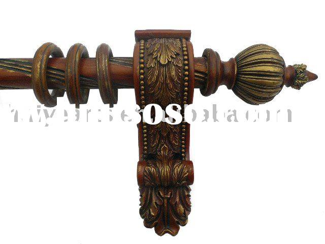 HY-145 Wooden Curtain Rod and accessories