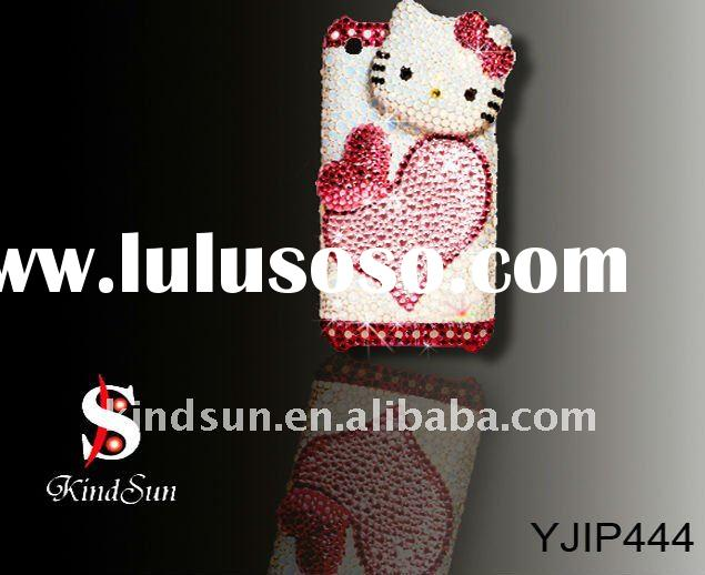Hello kitty rhinestone cell phone case for Iphone 4G
