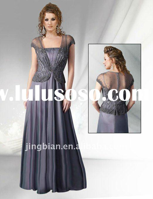 Hot Sell Royal Netted Bolero Fall Gown 2 Pieces Fabulous Designer Party Dress China Fashion Evening