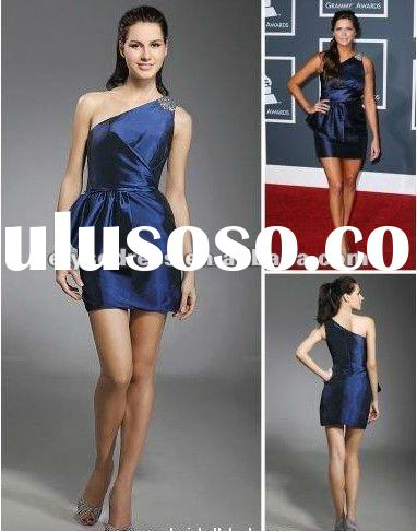 Hot Selling Sheath/ Column One Shoulder Short/ Mini Sleeveless Taffeta Beading Grammy Dress