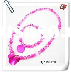 Kids shell pendant plastic beaded necklace and bracelet jewellery set (QXJS11205)