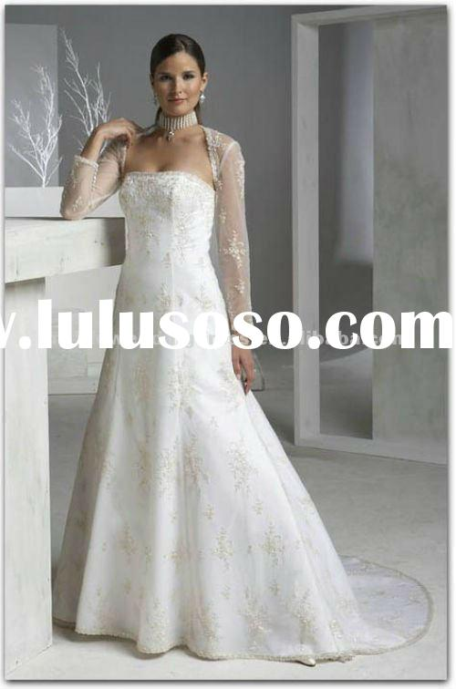 LS032 wholesale designer long sleeves corset bridal gown and wedding dresses