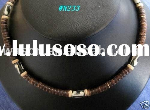 Men Wood Bead bone Necklace