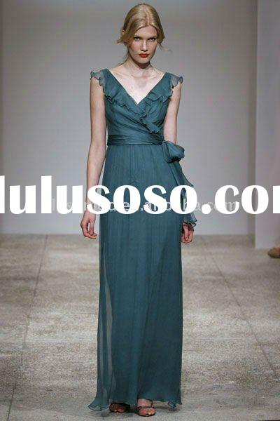 New Spring Design Cap Sleeves Chiffon Teal Bridesmaid Dress