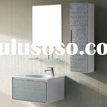New arrival modern white glass door makeup mirrored bathroom vanity cabinet set with sink and mirror