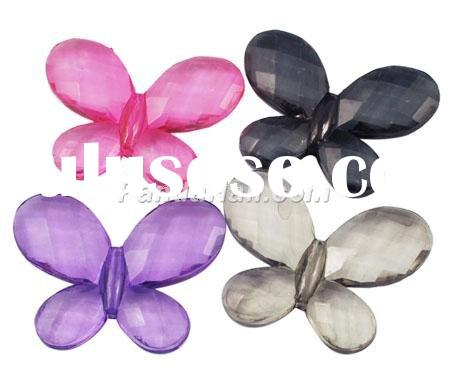 Transparent Acrylic Beads,Faceted Butterfly,Mixed Color,about 30mm long, 23mm wide,5mm thick,hole:2m