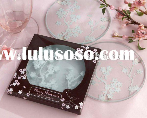 """Wedding Favors Cherry Blossoms"""" Frosted Glass Coasters engravable glass coaster round glass coa"""