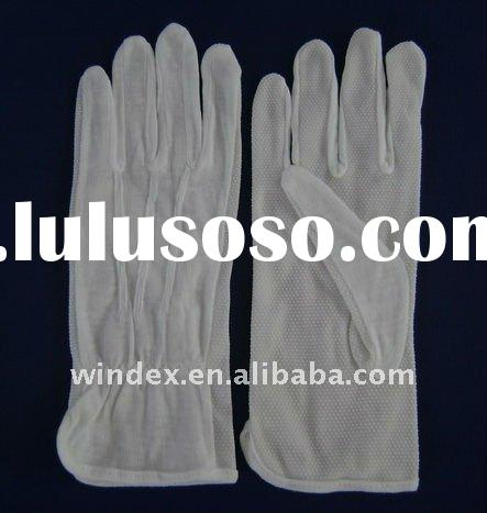 bleached white cotton glove with mini pvc dots