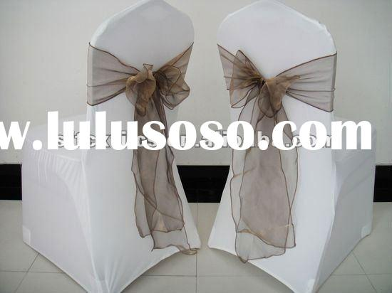 chair cover with brown mushroom organza sash