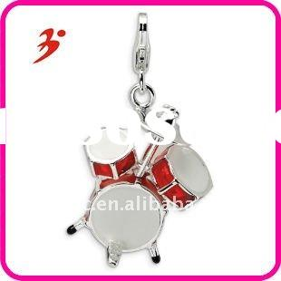 fashion cheap silver plated zinc alloy red enameled drum pendants jewelry