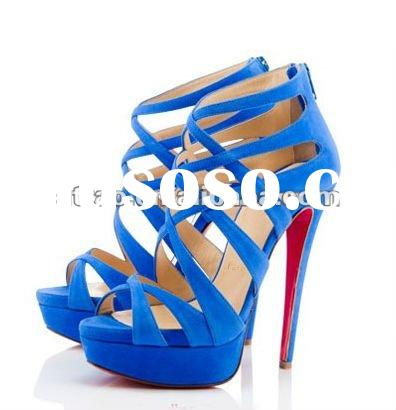 nice blue suede high heel net sandals free shipping