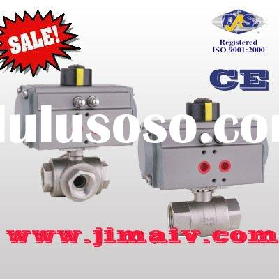 pneumatic actuator 3 way ss ball valve