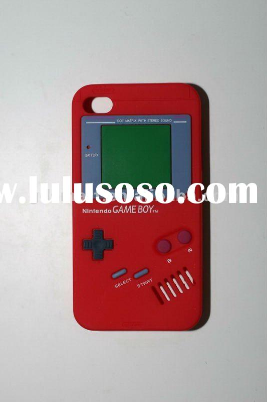 red GAME BOY DESIGN silicone gel rubber skin cover case for APPLE iPHONE 4G 4S 4GS