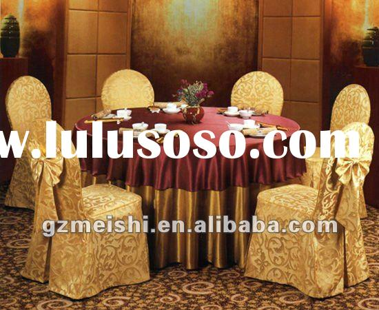 100% polyester gold Jacquard banquet chair cover with bow
