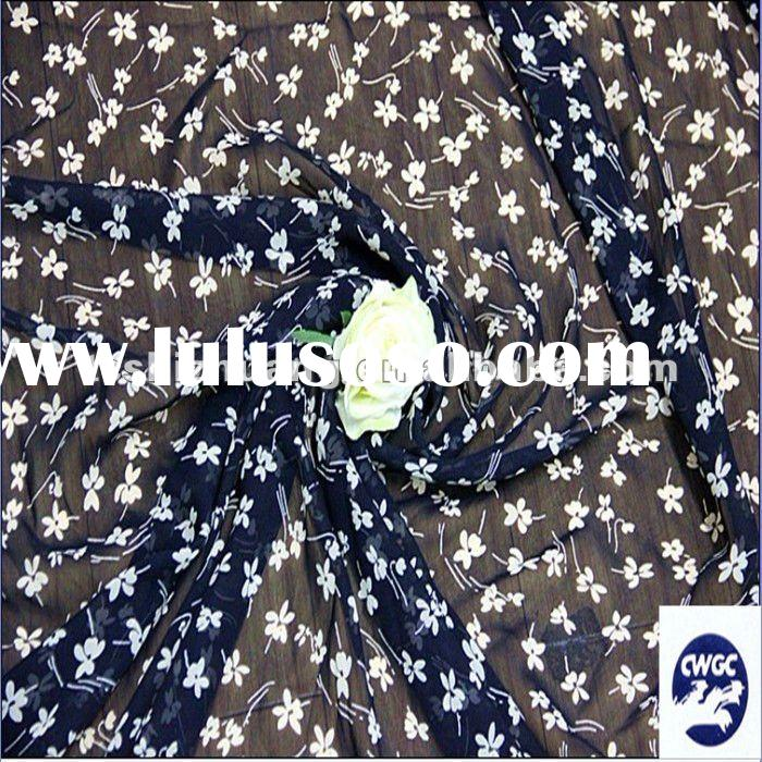 100% pure silk georgette fabric,sheer,10MM,navy blue floral , sell by yard