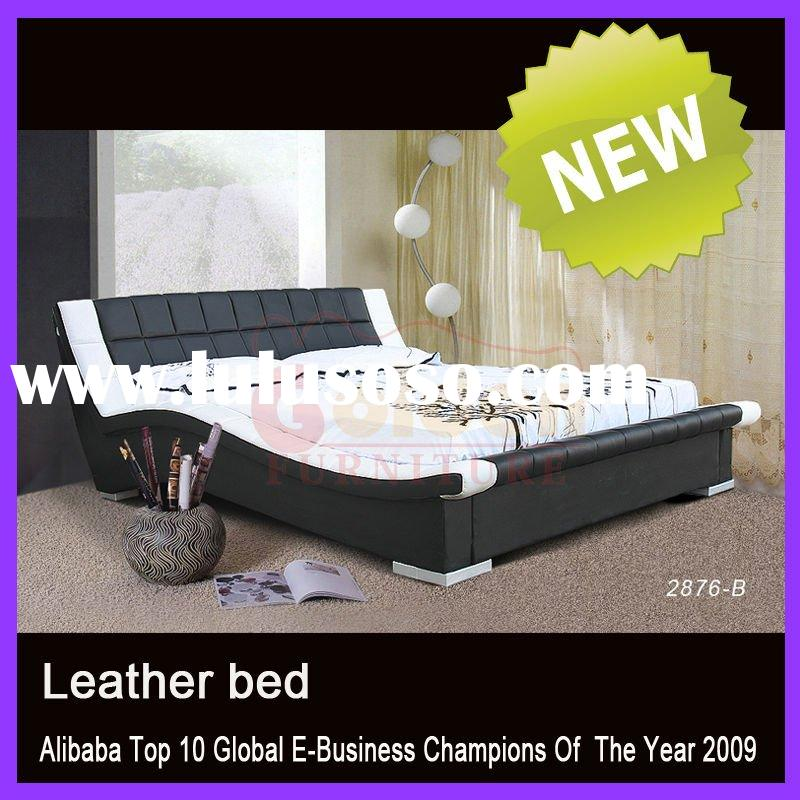 2012 High Quality Black Leather Bed Luxury Design 2876#