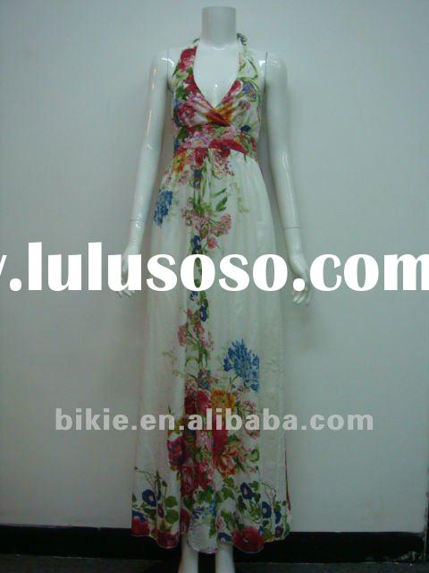 2012 Newest fashion V-neck floral printed Maxi/evening Dress