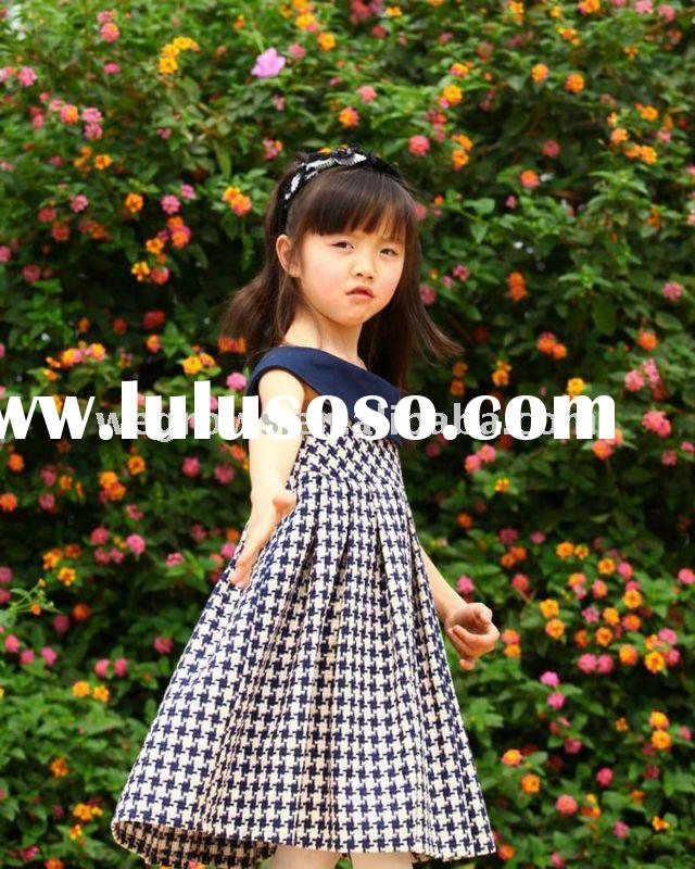 2012 fashion houndstooth patten 100% cotton dress,classic summer dress,European material,child cloth