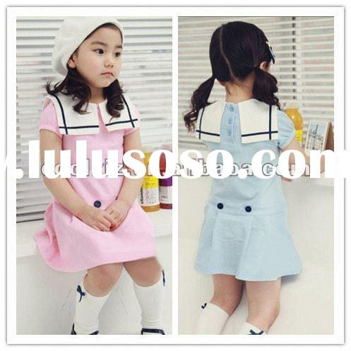 2012 new design lovely girls' dresses for summer school girls uniform mini dress
