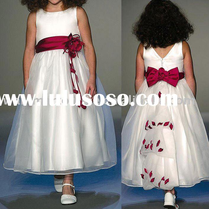 Adorable FL133 A-line Round Neck Red Sash Bow Flowers Tea-length V back White Organza Over Satin Che