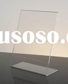 Clear Acrylic Counter Sign Holder with Slant Back