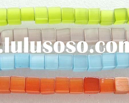 Colorful Cube Cats Eye Murano Glass Beads