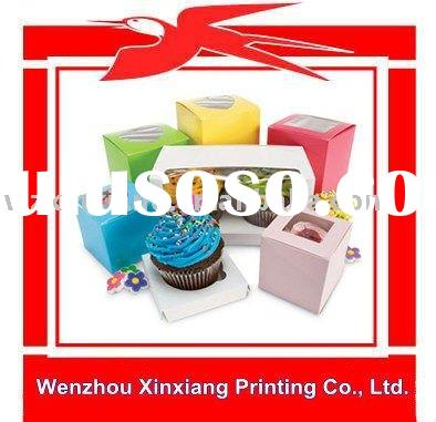 Colorful Window Paper Cupcake Packaging Box