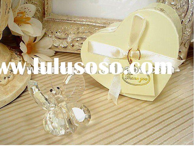 Crystal Butterfly in Satin Lined Heart Box Favors Wedding favors