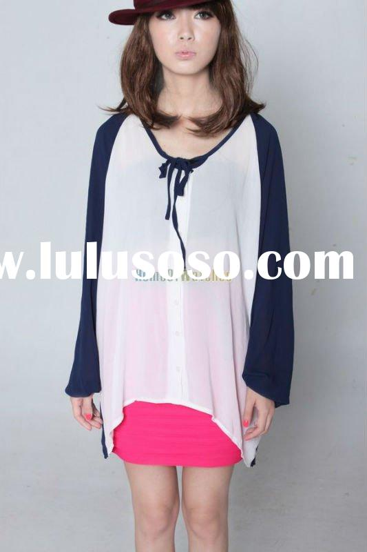 Fashion Dark Blue Elegant Chiffon shirt & Tops Lady women's t-shirts Causual long sleeve