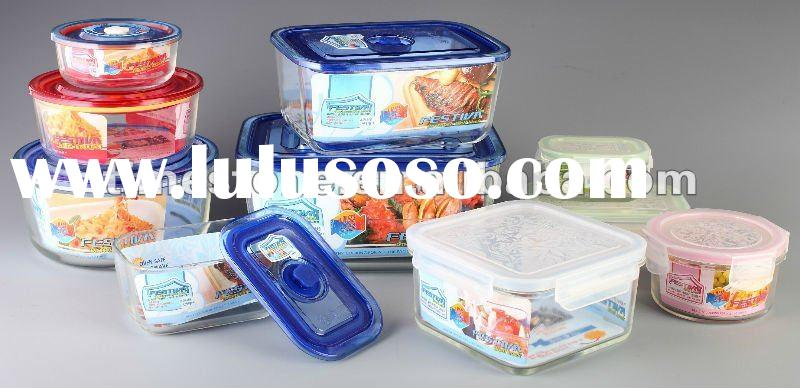 Keep Food or Fruit Fresh,Glass Fresh Containers with Lid