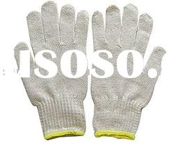 NATURAL WHITE COTTON / POLYESTER STRING KNITTED SEAMLESS GLOVE
