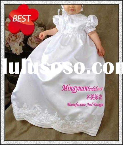 New white appliqued silk long cheap baby dresses