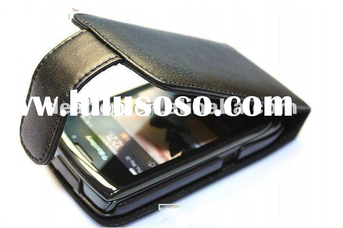 PU Flip leather case cover pouch for blackberry Torch 9800