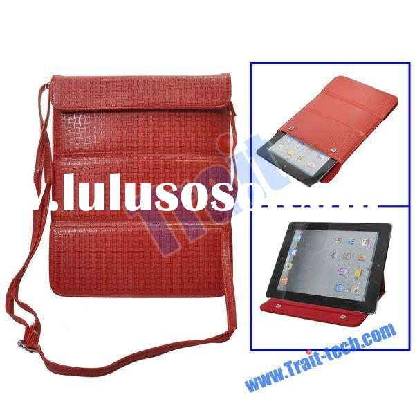 Red Multifunction Woven Pattern Bag Stand Leather Case for iPad2 with Shoulder Belt