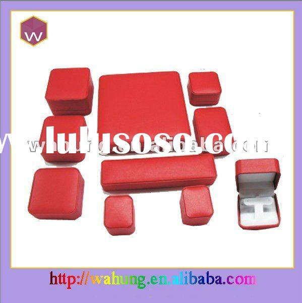 Red PU leather hinged jewelry boxes