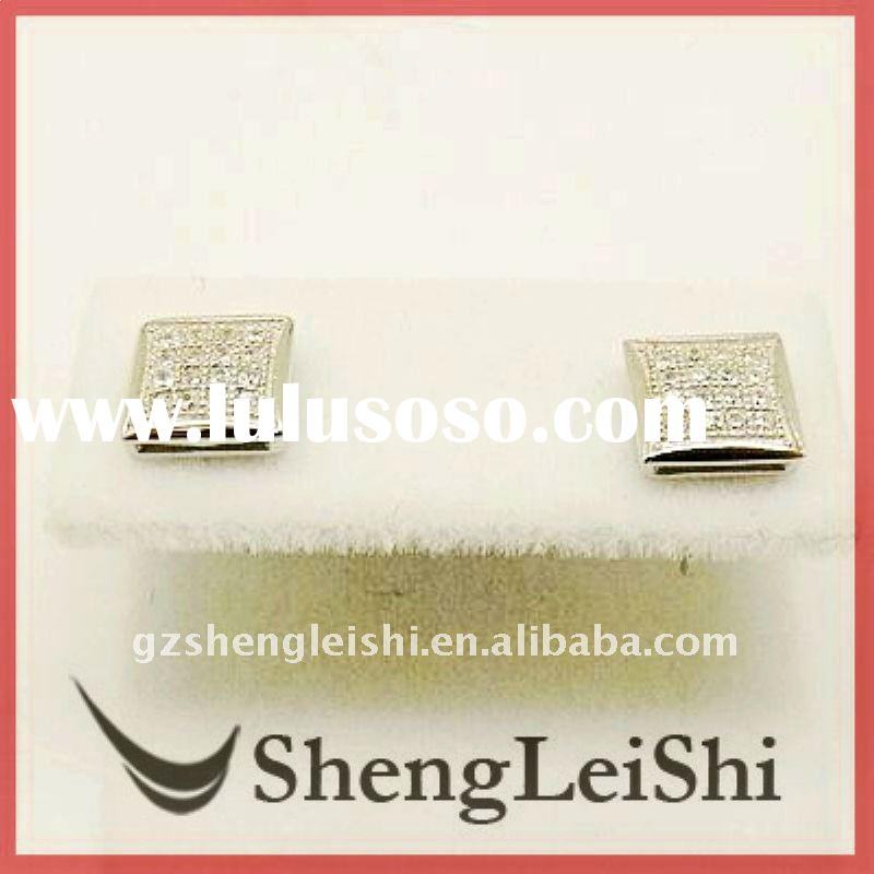 micro pave silver earrings