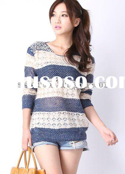 whole sale Fashion women sweater 2012 pullover with pearls