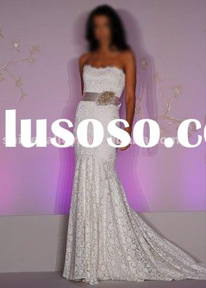 1057 strapless Lace over Champagne Charmeuse modified A-Line bridal gown,custom size and color