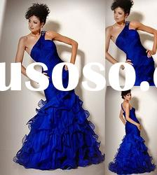 2011 best one-shoulder royal blue ruffled evening gown