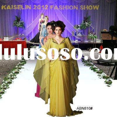 2012 Ladies chiffon ruched light yellow long sleeve maxi dresses AFBN810