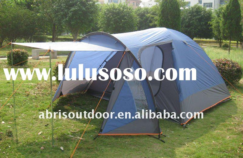 4 person classic family outdoor tent with canopy as for camping tent- blue