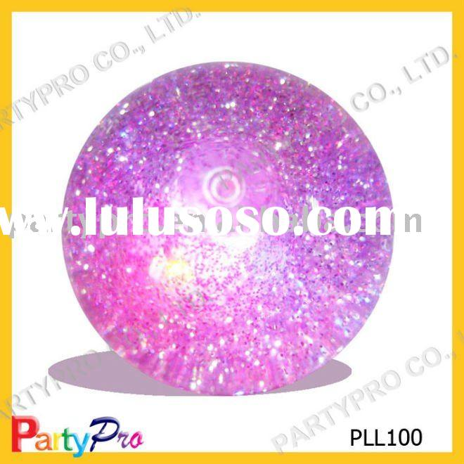 50-100mm DIA glitter bouncing ball with LED and water inside