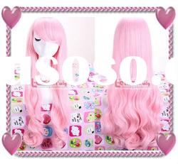70cm New beautiful Pink long Cosplay Party Wig RW136
