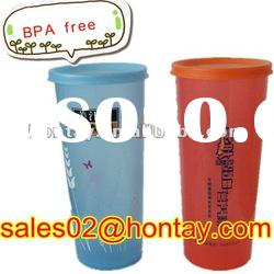 BPA free plastic water drinking cup with a cap