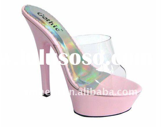 Belle clear and colorful high heel mid platform slip-on mules/high heel sandals