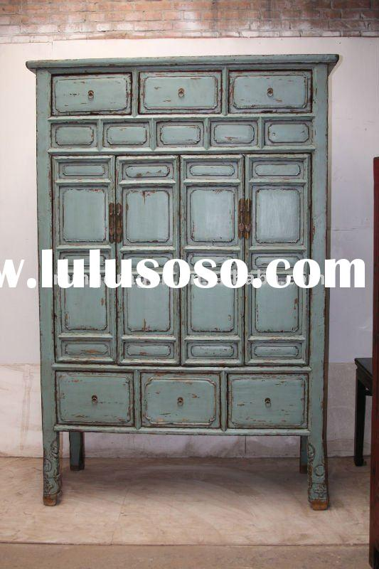 Chinese antique blue wooden wardrobe & cabinet