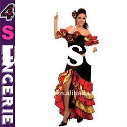Classic Latin Flamenco Dancing women dresses, Elegant Black off shoulder Clothing