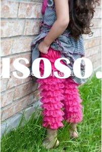 Crazy sale!!Lovely Hot Pink Ruffle Lace Petti Pants/lace pants for Girls